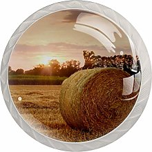 Yitian 4 Pack Cabinet Knobs Straw Bales Sunset