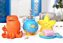 YIYIDA Cute Fish Shape Bathroom Collection SET 5pcs Resin Material Child Like Home Accessory Se