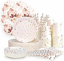 YIYO Party Supplies Cutlery Rose Gold Dots