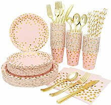 YIYO Party Supplies Pink Gold Tableware Sets
