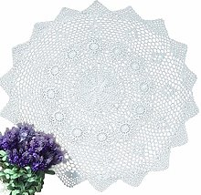 YIZUN Round White Cotton Crochet Lace Doily