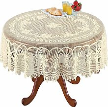 Yizunnu Beige Lace Tablecloth Rectangle Round