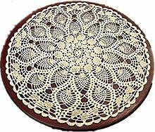 Yizunnu Beige Round Handmade Crochet Tablecloth