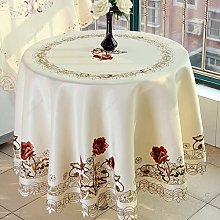 Yizunnu Embroidery Rose Tablecloth, Satin Fabric