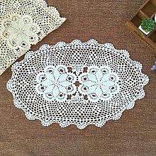 Yizunnu Oval Hand Crochet Placemat,Vintage Cotton