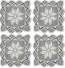 Yizunnu Set of 4 Vintage Hand Crochet Lace Doilies