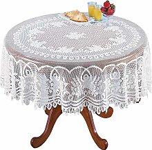 Yizunnu White Lace Tablecloth Rectangle Round