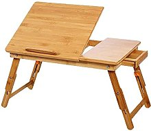 YJDQ Laptop Bed Table, Bamboo Foldable Laptop Desk