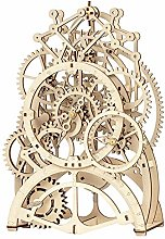 YJF 3D Wooden Puzzle Mechanical Pendulum Clock