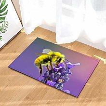YjkAJuQeP Purple Flowers. Bee. Door Mat Rug