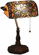 Yjmgrowing Antique Tiffany Style Banker Table Lamp