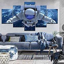 YJXL Canvas Wall Art 5 Pieces Panel - Astronauts