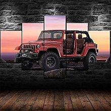YJXL Canvas Wall Art 5 Pieces Panel - Jeep