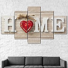 YJXL Canvas Wall Art 5 Pieces Panel - Love Home