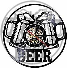 yltian Cold Beer Art Vinyl Record Wall Clock