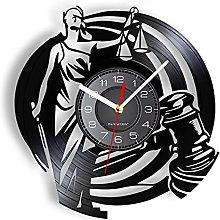 yltian Lady Justice Retro Vinyl Record Wall Clock