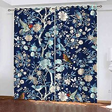 YLZXFY Blackout Curtains for Bedroom Blue plant