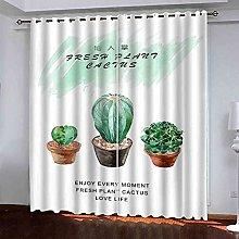 YLZXFY Blackout Curtains for Bedroom Cactus bonsai