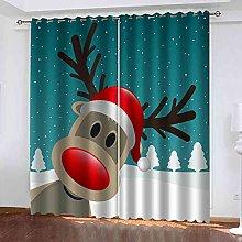 YLZXFY Blackout Curtains for Bedroom Cartoon elk