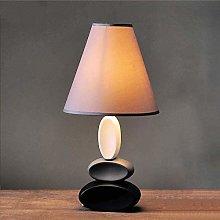 YMLSD Ceramic Led Table Lamps,Gray Cloth Lampshade