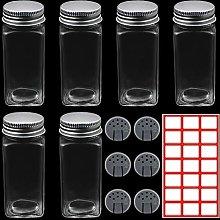 YnewL 6 Pack Spice Jar 120ML Empty Glass Square