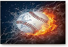 YnimioHOB Baseball with Fire and Water Door Mats