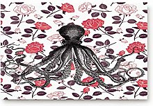 YnimioHOB Octopus with Petal Background Door Mats