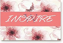 YnimioHOB Sakura Inspiring Texts Door Mats Kitchen