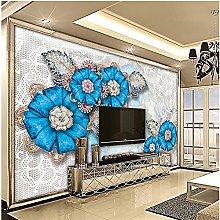 YNYEZBH 3D Bedroom Mural Blue Flowers Geometric