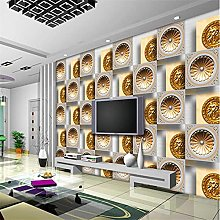 YNYEZBH 3D Bedroom Mural Golden Abstract Round