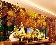 YNYEZBH 3D Bedroom Mural Golden Trees Living Room