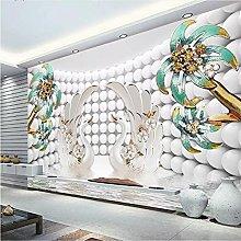 YNYEZBH 3D Bedroom Mural Round Coconut Swan Living