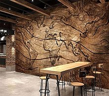 YNYEZBH 3D Bedroom Mural Wooden Retro Map Living