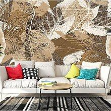 YNYEZBH 3D Living Room Mural Retro Leaf Geometric