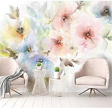 YNYEZBH 3D Living Room Mural Watercolor Flowers