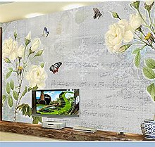 YNYEZBH 3D Living Room Mural White Rose Butterfly