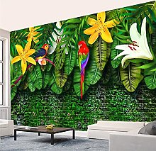 YNYEZBH 3D Photo Mural Colorful Parrot Plants
