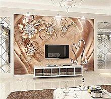 YNYEZBH 3D Photo Mural Golden Flower Ornaments