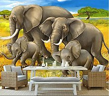 YNYEZBH 3D Photo Mural Grassland Animal Elephant