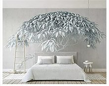 YNYEZBH 3D Photo Mural Gray Relief Trees Living