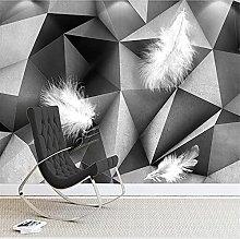 YNYEZBH 3D Photo Mural Gray White Geometric