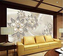 YNYEZBH 3D Photo Mural Pearl Flower Pattern Living