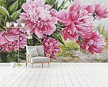 YNYEZBH 3D Photo Mural Peony Flower Living Room