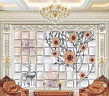 YNYEZBH 3D Photo Mural Romantic elk Flower Tree