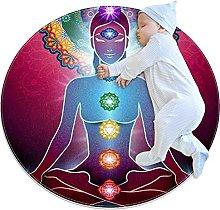 Yoga Lotus Position Chakra light, Round Area Rug