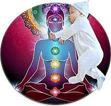Yoga Lotus Position Chakra light, Round Rug Throw