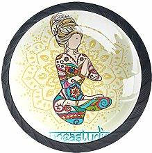 Yoga Meditation in Thailand 4 Pieces Crystal Glass