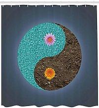Yoga Shower Curtain Yin Yang Flower Teal Brown