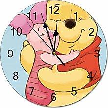 YOKJLDH Winnie The Pooh Hug Piglet PVC Wall Clock