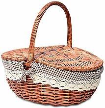 YOLEABY Picnic Basket Hand Made Wicker Basket